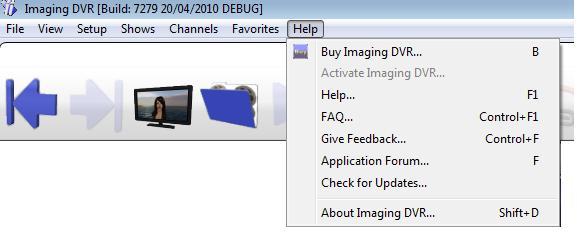 Top help menu in Imaging PVR / pvr.
